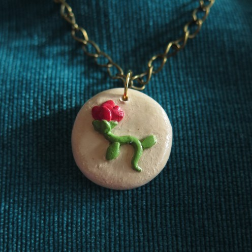 Rose necklace close-up